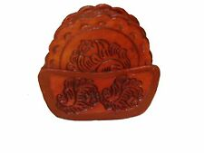 #456 Top Grain Saddle Leather Coaster Set & Tray Hand Tooled Western Bar 8 PC