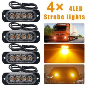 4 Stück Auto LED Frontblitzer Blinkleuchte Warnlicht Blitzleuchte 12V-24V IPX4