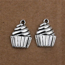 20Pcs Vintage Alloy Cakes Shaped Pendants Charms Crafts Findings 20mm