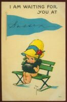 1103020 VINTAGE A/S TWELVETREE SUSSEX UK POSTCARD PENNANT POSTCARD GIRL ON BENCH