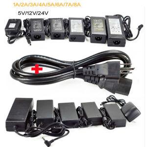 Power Supply Adapter Transformer LED Strip 2A 3A 5A 8A DC 5V 12V 24V AC110 220V