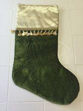 Christmas Stocking Green Crushed Velvet Look w/Glittery Gold Cuff + Mini Tassels