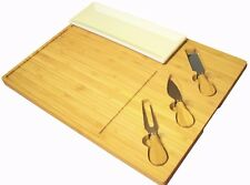 Large Bamboo Cheese Board | 3pc tool knife Set | Knives Cracker Biscuit Dish