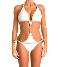 """Maillot de bain 1 pièce trikini blanc et or """"SOLEIL SUCRE by Elisa"""" Taille L"""