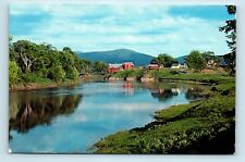 Laniel, Quebec, CANADA - RARE SMALL TOWN VIEW OF FARM & RIVER - Postcard - C1