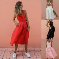 Women's Sexy Sling Backless Pleated Dresses Fashion Summer Holiday Strappy Dress