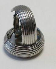 """Vintage L.H. Segal California Signed Silvertone Clip Ribbed 1"""" Hoop Earrings"""