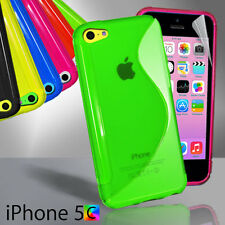 New S Curve Gel Case For iPhone 5c 5 c + Screen Guard TPU Jelly Skin Soft Cover