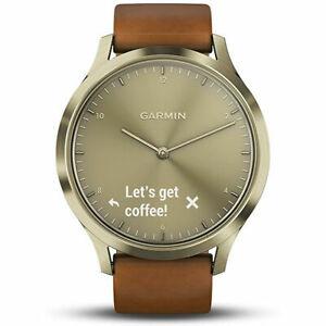 Garmin Vivomove HR, Premium, Gold Tone w/ Leather Band (Small/Medium)