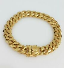 "Men 18K Yellow Gold Plated Stainless Steel 12mm 8.5"" Miami Cuban Link Bracelet"