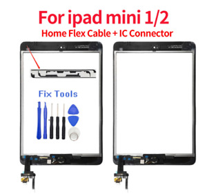 For iPad Mini 1 2 Touch Screen Glass Digitizer Replacement LCD+Home Button BLACK