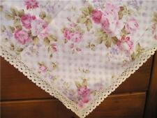 """RosaryAtHome Pink Rose Cotton Table Cloth Lace Edge 36"""""""