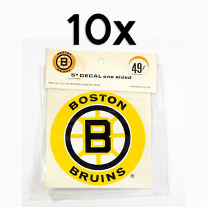 """Lot of (10) Vintage 1970's Boston Bruins 5"""" One-Sided Decal Stickers NIP"""