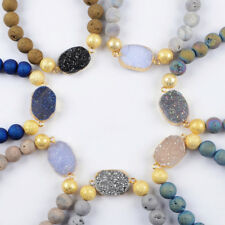 5Pcs Titanium Druzy Chalcedony With 10mm Matte Crystal Beads Bracelet TG1483