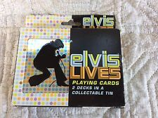 Nos Sealed Elvis Presley Lives Bicycle 2 Decks Playing Cards In Collectible Tin