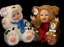 Geppeddo Cuddle Kids Porcelain Face Doll Benjamin Bear & Polar Pete Collectibles