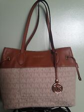 "** MICHAEL KORS ""MARINA"" Vanilla Coated Twill Leather Shoulder Tote Bag NWT"