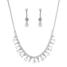 Lux Accessories Silver Tone Tear Style Bridal Faux Rhinestone Statement Necklace