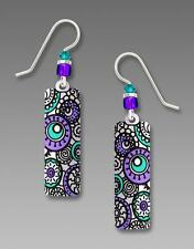 Adajio Earrings Sterling Silver Hook White Column with Lavender Circles US Made