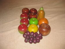 Lot of 13 Decorative Wooden Apples~Pears~Orange~Bunch of Grapes