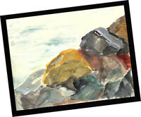 Rincon Rocks Ventura 2014 Contemporary Art PAINTING SIGNED seascape watercolor