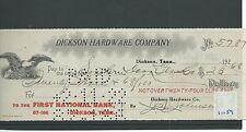Recuento de leucocitos. - Cheque-CH1059-usado -1922 - First National Bank, Dickson, Tenn, EE. UU.