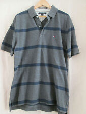 mens TOMMY HILFIGER GREY COTTON STRIPED POLO SHIRT USA SIZE LARGE / UK XL