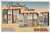 [48228] OLD LARGE LETTER POSTCARD GREETINGS FROM NEW LONDON, CONNECTICUT