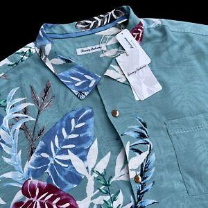 Tommy Bahama 100% Silk Villa Ravello Floral Hawaiian Green Camp Shirt 3XL $135