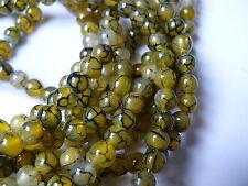 30 perles ronde Les veines de dragon Agate pierres précieuses 6mm olive
