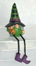 Ganz Halloween WITCH Shelf Sitter w/Jack-O-Lantern Purple Shoes Green Black Hat