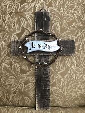 "Wooden ""He Is Risen"" Cross 16� Tall 10"" wide Wall Decor Easter New"