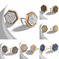 Druzy Mini Rough Hexagon silver Gemstones Galactic Stud Post Earring Earrings