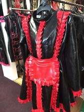 Misfitz black and red rubber latex glamour frilly maids dress size 26