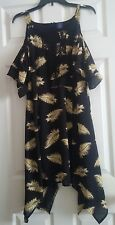 NWT Junior's Disney Beauty & The Beast Black Feather Print Cold Shoulder Dress L