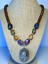 Boho Glass Bead Necklace Chunky Silver Pendant Tigers Eye Lapis Lazuli  2 CHIC