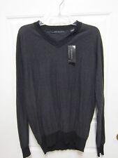 Sean John Striped V-Neck Sweater L Black NWT $58.00