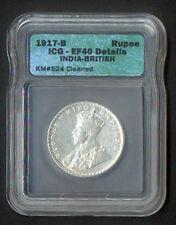 INDIA 1917 UK ENGLAND BRITAIN GEORGE V KING & EMP. SILVER SLABBED & GRADED EF 40
