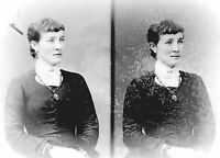 ANTIQUE 7 x 5  GLASS PHOTO NEGATIVE -- 1860-1890 - LADY WITH A LOCKET