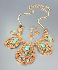 NEW Coral Beads Turquoise Crystals CZ Gold Filigree Necklace Earrings Set