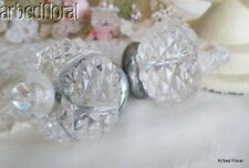 """St/2 Clear Vintage Style Knob Acrylic Drawer Pull Victorian Crystal ~ 2"""" Wide"""