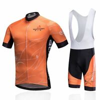 Orange Men's Cycling Bib Kit Full Zip Bike Shirt Jersey and Bib Shorts Set S-5XL