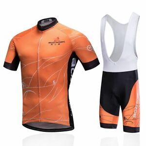 Orange Men's Cycling Bib Kit Full Zip Bike Shirt Jersey and Bib Shorts Set S-5XL