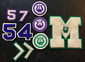 1954-57 antique wool cardigan varsity letters numbers badges patches choir (M)
