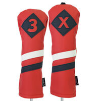 Majek Retro Golf #3 & X Fairway Wood Headcover Red White Blue Leather Style
