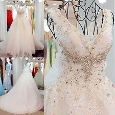 Luxury White/Ivory A-Line Bride Wedding Dress Bridal Gown Custom Size 6-18++