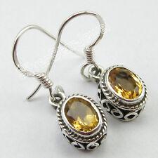 "925 Solid Silver Dazzling CITRINE Gem Earrings 1"" WOMEN'S Low Price JEWELRY"
