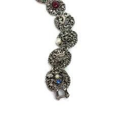 Vintage Coro Filigree Medallions Segment Victorian Bracelet Fleur de Lis Cross