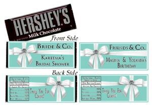 12 Tiffany & Co Blue Birthday Party Baby Bridal Shower Hershey Candy Bar Wrapper