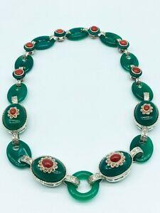 Collana realizzata in oro rosa 14 ct - Argento, Agata verde, Corallo, Diamanti